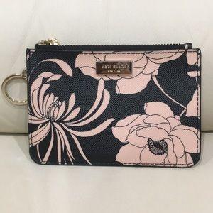 HP🎉 Kate Spade Pink Black Floral Keychain Wallet